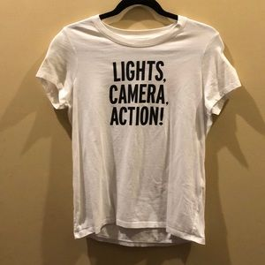 Lights camera action graphic t